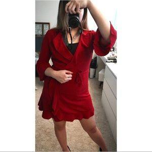 Red Ruffle Wrap ASOS Dress-size US6